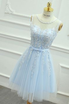 lace tulle blue prom dress, homeoming dress by dresses, $139.00 USD