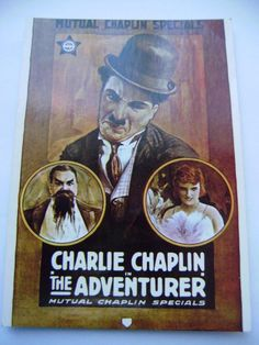 vintage French post card CHARLIE CHAPLIN THE ADVENTURER