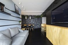 Modern dining room with wall mural
