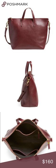 """SALE HP: Madewell Zip Transport in Oxblood 2 pieces of fine leather are used for the body of the satchel.  Made of vegetable-tanned leather that burnishes with wear into a beautiful patina. Please note: As it is made of a natural material, each bag varies slightly in texture and color. Excellent used condition. Slight wear to corners  Zip closure. 1 interior zip pocket, 2 interior pockets. 18"""" removable crossbody strap. 4 3/10"""" handle drop. 11 4/5""""H x 15 2/5""""W x 5 1/2""""D. Madewell Bags…"""