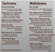 Tantrums vs. Meltdowns