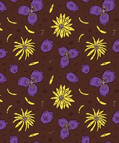 purple and yellow flower pattern
