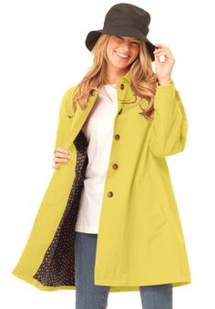 WOMAN WITHIN - Plus Size Jacket length raincoat in weather-resistant fabric with pretty print lining | Plus Size multi-season | Woman Within -- and you really don't need rain to wear it!! it's so versatile!