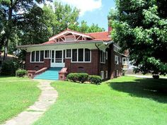 Craftsman-style brick home. Maple ceiling beams, moldings, pillars, built-in bookcases & dining buffet. Craftsman Houses, Craftsman Style Homes, Dining Buffet, Mount Vernon, Built In Bookcase, Green Carpet, Old House Dreams, Bungalows, Large Windows