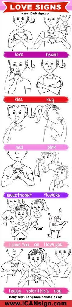 Learn how to express your love using American Sign Language. This ASL chart has signs related to love and Valentine's Day. #signlanguagechart