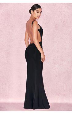 81eed94fa  Ophelia  Maxi Vestido Negro sin Espalda Vestidos Negros