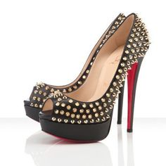 dd28793452f8 Nice Discount Christian Louboutin Lady Peep Spikes Pumps Black Gold Outlet  Online For Sale Outlet Shop