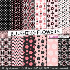 """Floral digital paper: """"BLUSHING FLOWERS"""" flower paper backgrounds in blushing rose, grey and black flower patterns by clairetale. Explore more products on http://clairetale.etsy.com"""