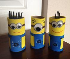DIY minions with toilet paper rolls :)