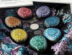 Set of 7 Chakra Stones with Vintage Fabric Bag, Hand Painted Mandala Designs