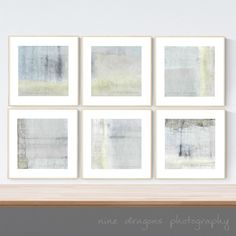 Framed Art, Abstract Art Set of 6 Prints, Square Framed Wall Art, Set of Six Wall Grouping, Gallery Wall Framed Prints,Framed Art Set Pastel