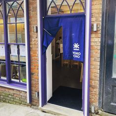 """Yokocho on Instagram: """"Now it's warm enough to have the door open we have our beautiful entrance curtain up. Made by the lovely people @universal_works for us.…"""" Universal Works, Door Opener, Nottingham, Entrance, Doors, Curtains, Warm, People, Beautiful"""