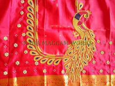 Peacock Blouse Designs, Peacock Embroidery Designs, Saree Tassels Designs, Hand Embroidery Design Patterns, Pattu Saree Blouse Designs, Blouse Designs Silk, Designer Blouse Patterns, Dress Neck Designs, Bridal Blouse Designs