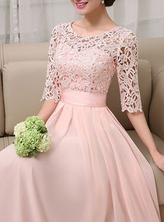 Pink Sleeve Crew Neck Guipure Elegant Party Dress - Evening Dresses and Fashion Elegant Party Dresses, Stylish Dresses, Pretty Dresses, Casual Dresses, Beautiful Dresses, Formal Dresses, Casual Outfits, Hijab Dress Party, Party Wear Dresses