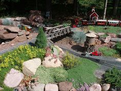 Miniature model train sedum garden