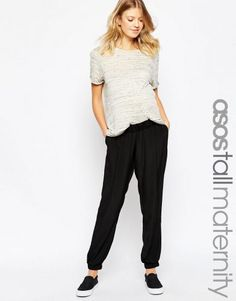 ASOS Maternity TALL Pant With Elastic Cuff – Black. Tall Clothing for tall women at PrettyLong.com
