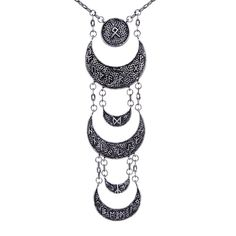 Runic Moon Phases Necklace - We are the Hellaholics