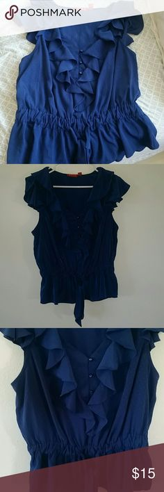 Elle top Cute and frilly, blue top. Decorative buttons down front and tie at front. Very small polka dots. Very flattering. Perfect career wear. Elle Tops Blouses