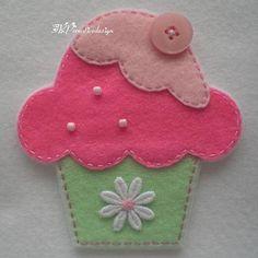 Handmade Cupcake Felt Applique Big  Double by TRPcreativedesign01, $4.00: