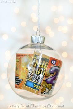 The most festive way to give a lottery ticket is hanging it on the tree. Easy to make lottery ticket ornaments.