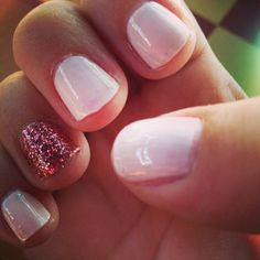 Light pink nails with magenta sparkle accent. Love!