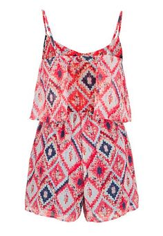 multicolor tiered front romper with open back - maurices.com