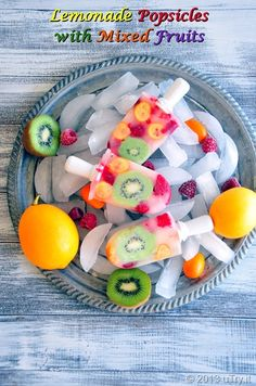 Lemonade Popsicles with Mixed Fruits -- A simple and health recipe to cool down this summer. http://uTry.it