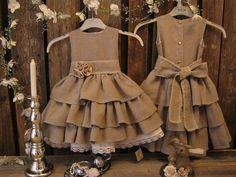Linen flower girl dress in dark beige. Girls linen dress. Toddler ruffle dress. Country rustic wedding via Etsy