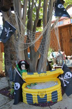 Pirate party ideas make the cooler look like a treasure chest