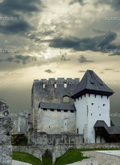 Old medieval castle in Slovenia under perfectly moody skies, wonderful picture.