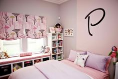 Kids Bedroom, Wonderful Pink Toddler Girl Bedroom With Chic White Bookshelves Also Cute Window Seat And Dolls Rack: Fancy Cool Girl Bedrooms Inspiration Ideas for Your Funny Children