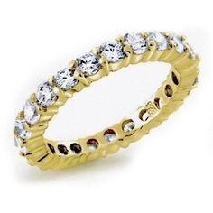 Bling Jewelry Gold Vermeil Classic CZ Pave Wedding Band