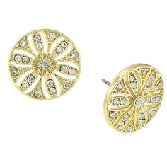 1928 Jewelry Gold-Tone Crystal Disk Button Earrings ($14) ❤ liked on Polyvore featuring jewelry, earrings, clear earrings, clear crystal earrings, goldtone jewelry, gold tone jewelry and colored gold jewelry