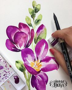 Inspiration to draw watercolor drawing watercolor flowers watercolor art violet flowers Watercolor Drawing, Watercolor Cards, Watercolor Illustration, Watercolor Flowers, Drawing Flowers, Drawing Drawing, Painting Flowers, Gouache Painting, Art Violet