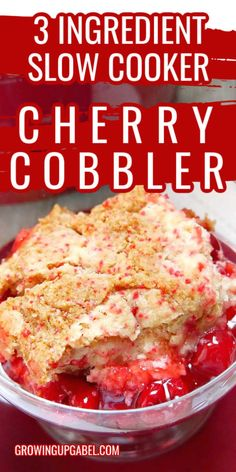 Make this cherry cobbler in your slow cooker with a cake mix, pie filling and butter! Easy cobbler recipe. Crock Pot Cobbler recipe is easy to make! Crockpot Dessert Recipes, Crock Pot Desserts, Slow Cooker Desserts, Crock Pot Cooking, Slow Cooker Recipes, Easy Homemade Recipes, Easy Cake Recipes, Easy Cherry Cobbler, Fruit Cobbler