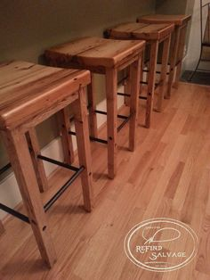 Handcrafted bar stools from reclaimed hemlock barn wood from Up State NY. Find us at Signature ReFind Salvage on Facebook at https://www.facebook.com/pages/Signature-ReFind-Salvage/239640119542525?fref=ts