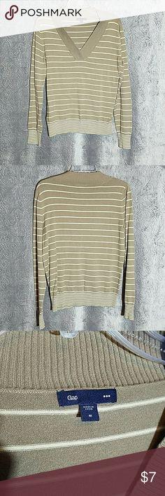 V Neck Striped Sweater Medium V-neck tan and brown striped sweater. Good condition. Cotton nylon spandex blend. Size medium. GAP Sweaters V-Necks