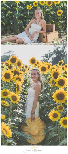 Janice Louise Photography | Delaware Portrait Photographer | Senior Portrait Session in sunflower field with hat & luggage.