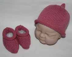 Supersoft Merino Cashmere baby beanie hat and booties in Rosy Pink - £22.99