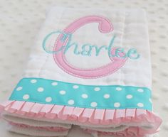 BuRP CLoTH with appliqued initial AND personalized embroidery with baby girl's name - Pink and Turquoise