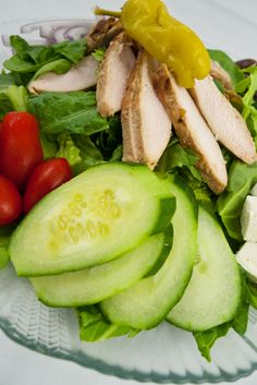Greek Chicken Salad    Phase III (Maintenance) Greek Chicken Salad, Healthy Meals, Healthy Recipes, Fresh Vegetables, Feel Better, Gourmet Recipes, Healthy Lifestyle, Paleo, Lose Weight