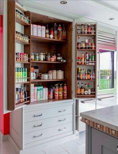 clever hidden storage solutions for kitchen modern 1 - pantry redo Kitchen Pantry Storage, Kitchen Pantry Design, Kitchen Pantry Cabinets, Kitchen Storage Solutions, Kitchen Redo, Home Decor Kitchen, Rustic Kitchen, Kitchen Interior, Kitchen Remodel