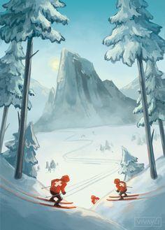 Downhill Ski, Chamonix Mont Blanc, Vintage Ski Posters, Snow Place, Ski Decor, Ski Girl, Winter Illustration, Snowboarding Outfit, Snow Fun