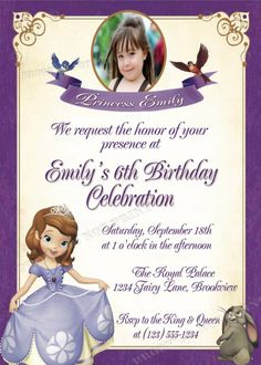Personalized Sofia the First Birthday Photo Party Invitations -sof2