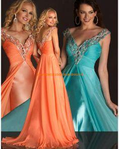 Bleue orange robe col en V simple pas cher robe de cocktail 2013 mousseline