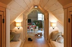 Gena Knox - Attic Dream reading/sleeping nooks, great for company and work space, too. #atticrenovation