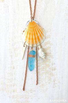 Sautoir Mermaid ~ Coquillages & Quartz - Orange – PAMALAKA - Créateur de bijoux boho chic
