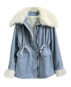 Detachable Fur Collar and Cuffs Lambswool Lined Denim Coat