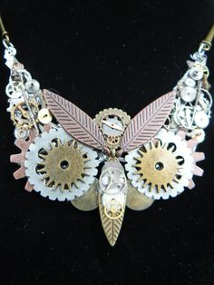 steampunk owl necklace  SALE ooak gears watch by gildedingypsy, $47.00