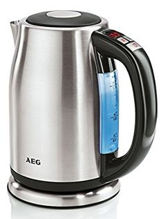 AEG EWA7550 Wasserkocher (2400 Watt, 1,7 Liter, Temperaturvorwahl mit Digitalanzeige) edelstahl